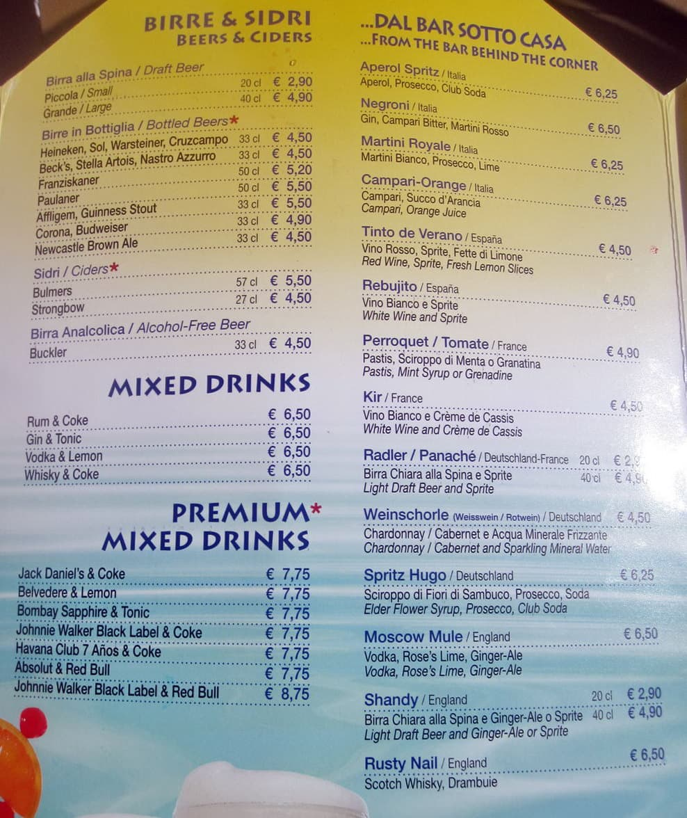 Costa Cruises bar list