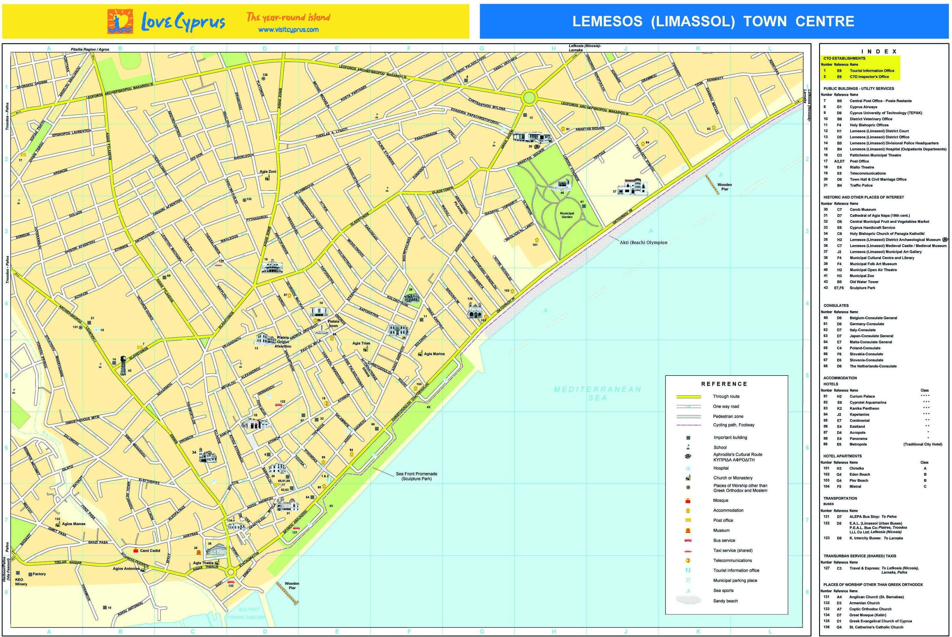 Подробная карта лимассола на русском языке
